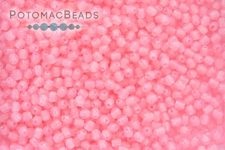 Czech Faceted Round 2 mm - Matte Opal Pink