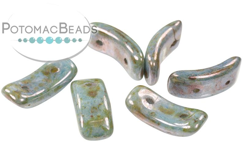 Bow Bead - White Blue Picasso