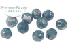 Faceted RounTrio® - White Baby Blue Luster 6mm