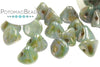 Button Bead - White Blue Luster
