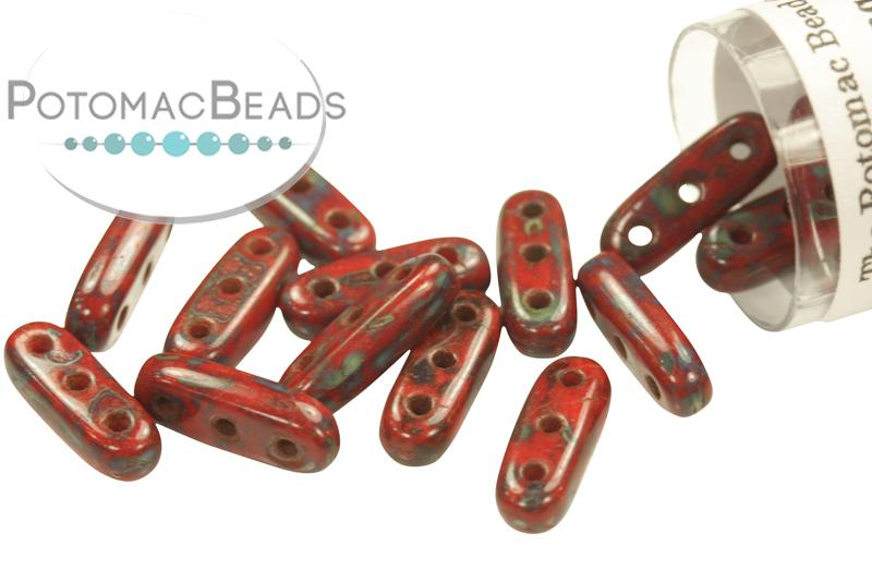 3-hole Beam - Opaque Red Picasso