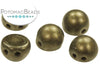 CzechMates 7mm 2-Hole Cabochon - Dark Green Metallic Suede
