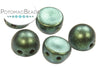 CzechMates 7mm 2-Hole Cabochon - Polychrome Aqua Teal