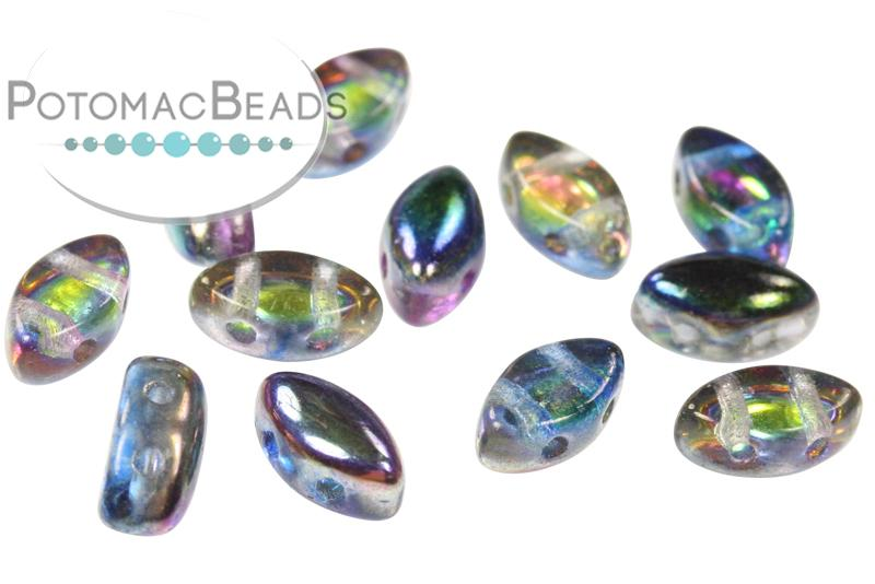 Choose your Colour Pack of 30 IrisDuo Czech Glass 2 Hole Beads