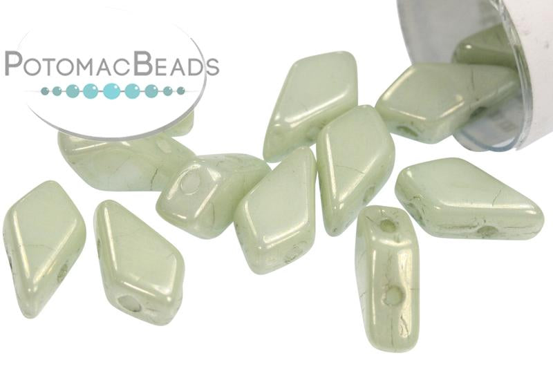 Kite Bead - White Teal Luster (Green Luster)