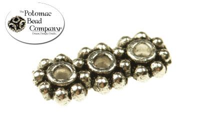 Pewter (Silver) Beads- 3-Strand Daisy Spacer Beads