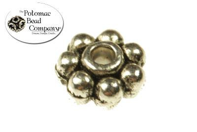Pewter (Silver) Bead - Daisy Spacer Bead 6mm