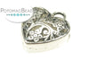 Pewter (Silver) Pendant - Flower Filigree Heart