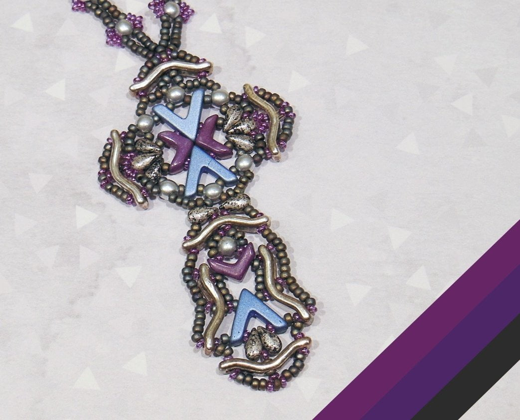 Beading Kit - Ansgar Cross Pendant by Anna Lindell (Purple/Gunmetal Colourway)