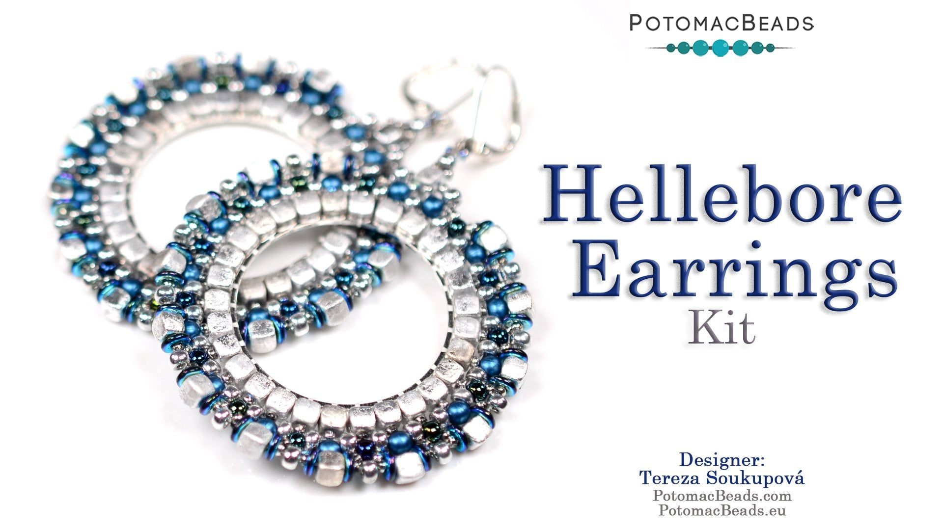 Beading Kit - Hellebore Earrings (Blue/Silver Colourway)