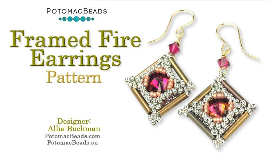 Beadweaving 1138 - Framed Fire Earrings Pattern by Allie Buchman