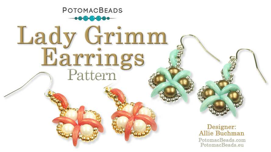 Beadweaving 874 -  Lady Grimm Earring Pattern by Allie Buchman