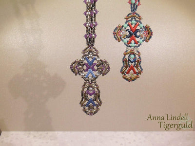 Beading Kit - Ansgar Cross Pendant by Anna Lindell (Jade/Green/Gunmetal Colourway)
