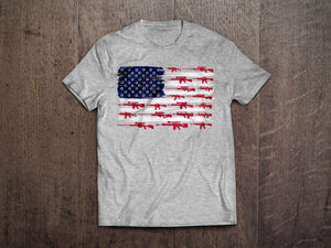 American Gun Flag T-Shirt (MADE IN THE USA)