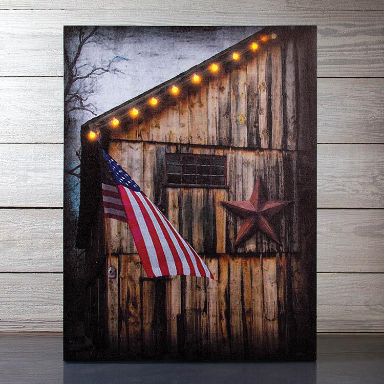 Rural Americana Lighted Canvas