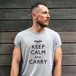 Keep Calm and Carry Pro Gun T-Shirt (MADE IN THE USA)