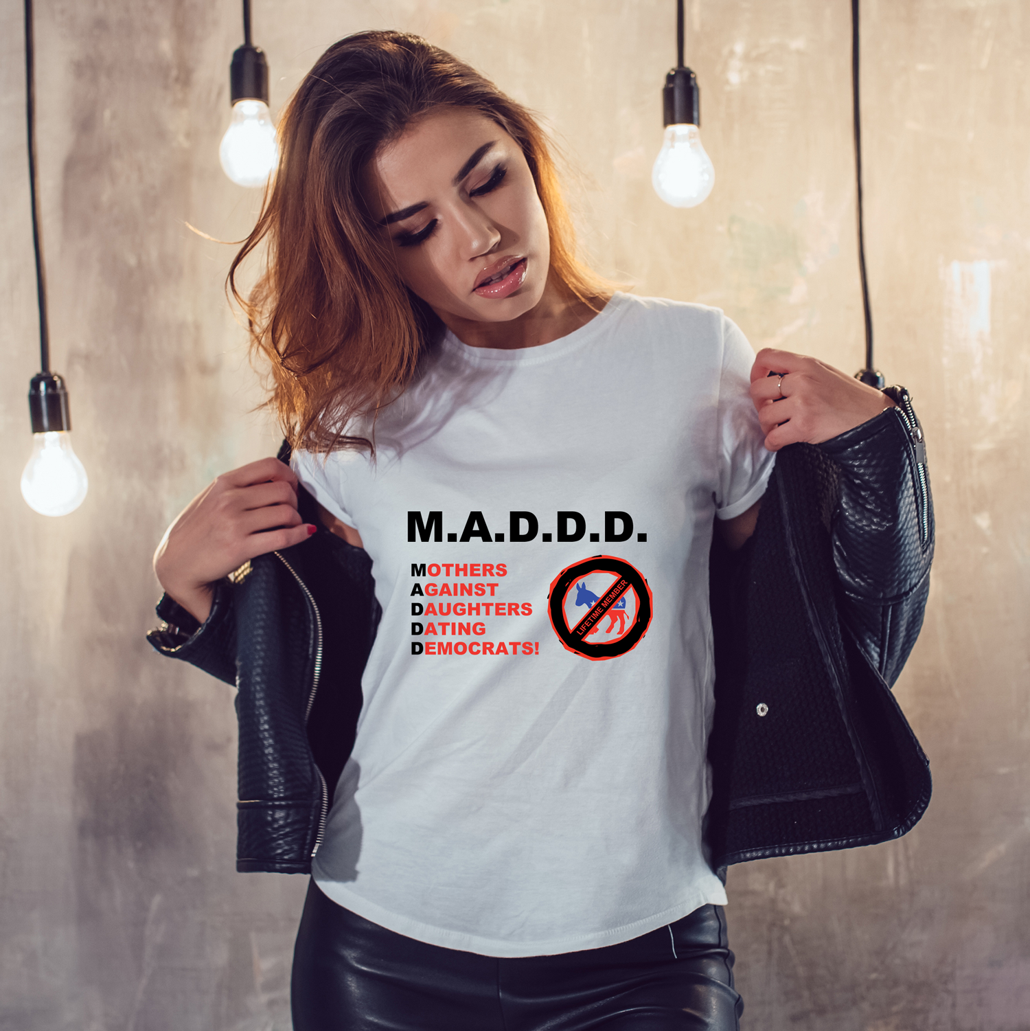 M.A.D.D.D. Mothers Against Daughters Dating Democrats Women's T-Shirt (MADE IN THE USA)