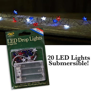 Submersible Red, White, & Blue Star LED Light String (Auto Timer, 6.5 foot cord)