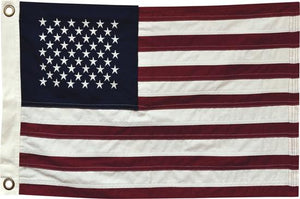 Embroidered, Heavy Weave Cotton American Flag (17x28 INCHES w/Grommets)