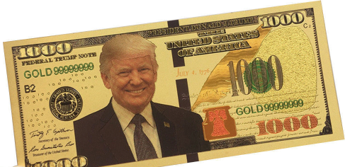 Donald Trump 1000 Bill (Gold Foil Plated)