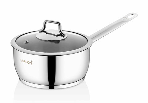 Saflon Stainless Steel 3 Qt Sauce Pan with Glass Lid
