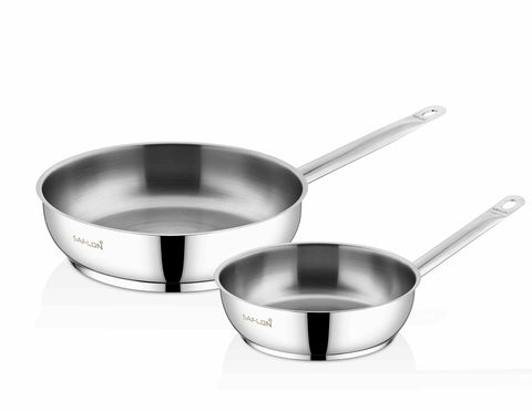 Saflon Stainless Steel 2-Piece Fry Pan Set (8 Inch & 10 Inch)