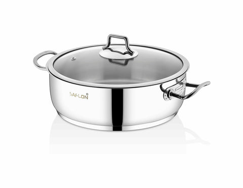 Saflon Stainless Steel 4 Qt Saute Pot with Glass Lid