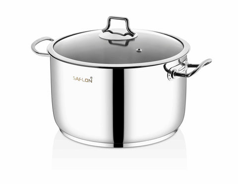 Saflon Stainless Steel 8 Qt Stock Pot with Glass Lid