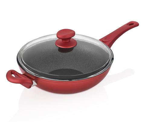 Titanium Nonstick 11-Inch Wok Pan with Tempered Lid (Red)