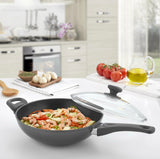 Titanium Nonstick 11-Inch Wok Pan with Tempered Lid (Gray)