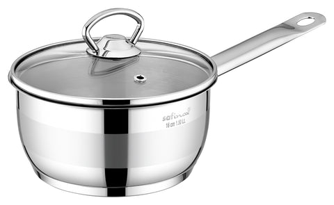 Safinox Stainless Steel 1.5-Qt Sauce Pan with Glass Lid