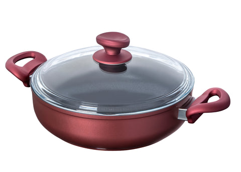 Titanium Nonstick 4-Quart Saute Pot with Tempered Glass Lid (Red)