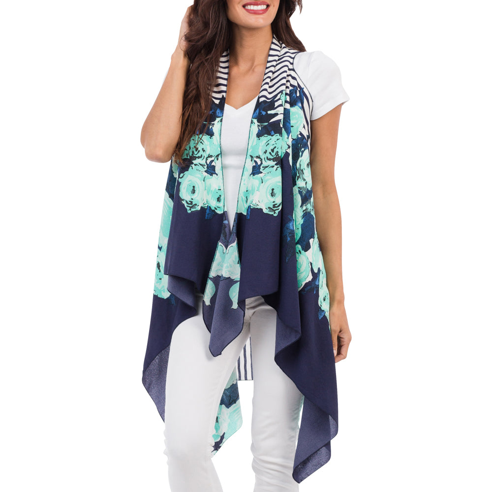 Navy and Mint Poppy Burst Kimono Cover-up
