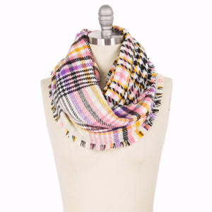 Pastel Houndstooth Infinity Scarf