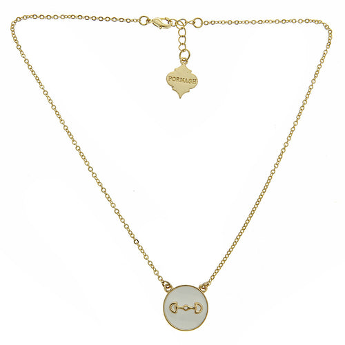 Riding the Rail Enamel Bit Medallion Necklace