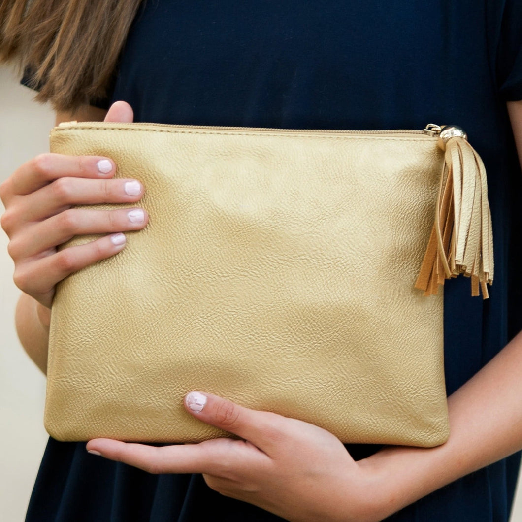 Kalie Gold Metallic Clutch/Crossbody Bag