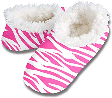 Pink Zebra Snoozies Slippers
