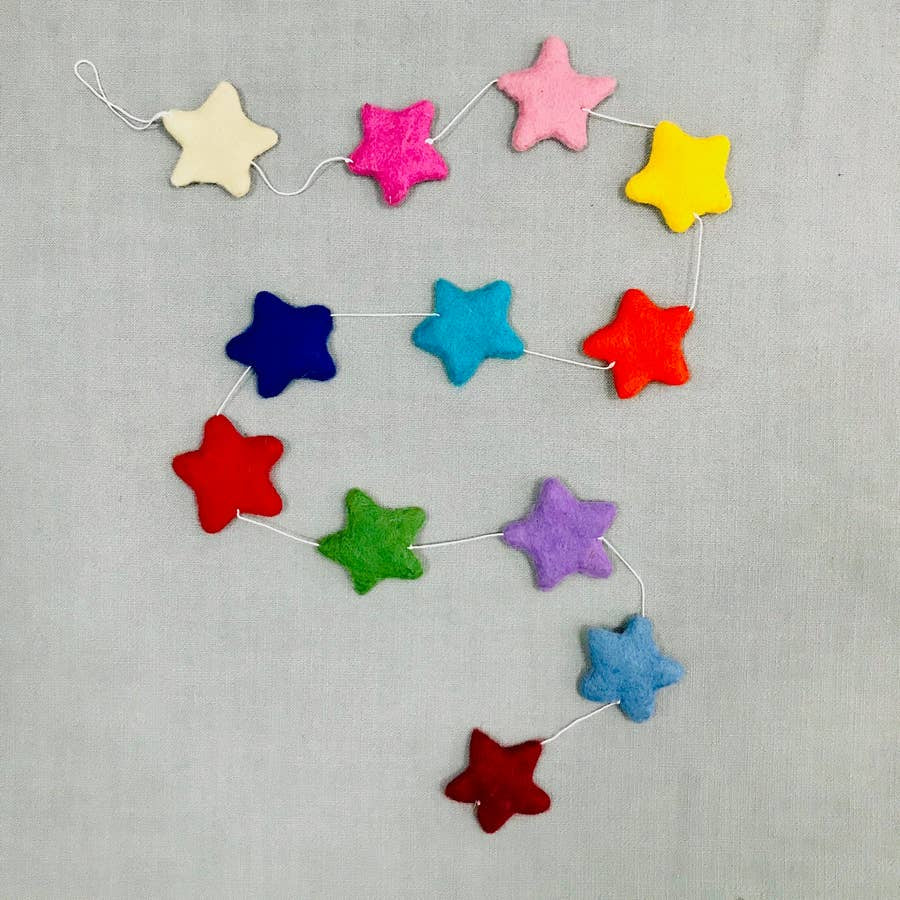 The Winding Road Rainbow Felt Star Garland