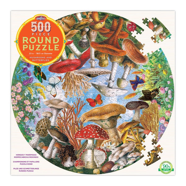Eeboo 500 Piece Puzzle Mushrooms and Butterflies