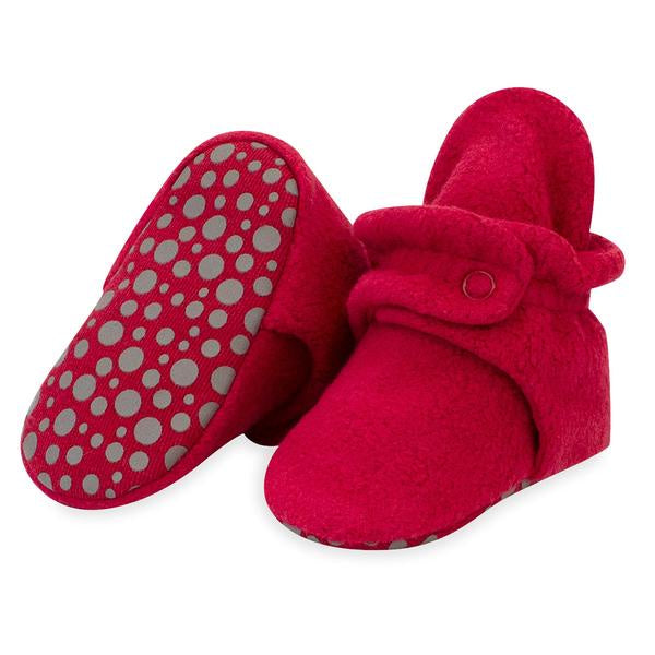 Zutano Cozie Fleece Gripper Booties Cranberry