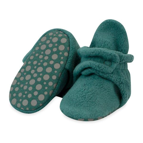Zutano Cozie Fleece Gripper Booties Fern