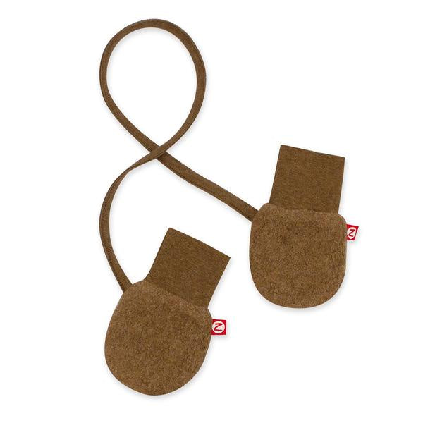 Zutano Cozie Fleece Mittens  Mocha Heather