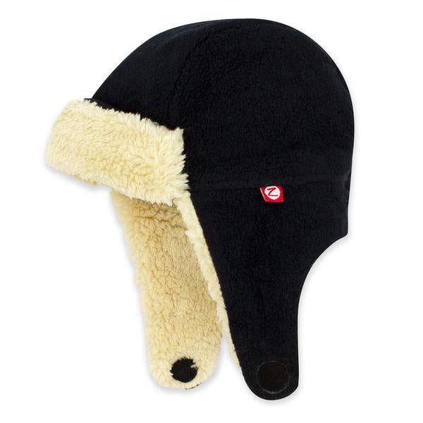 Zutano Cozie Fleece Furry Trapper Hat Black