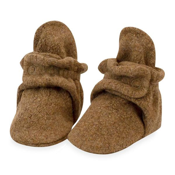 Zutano Cozie Fleece Booties Mocha Heather