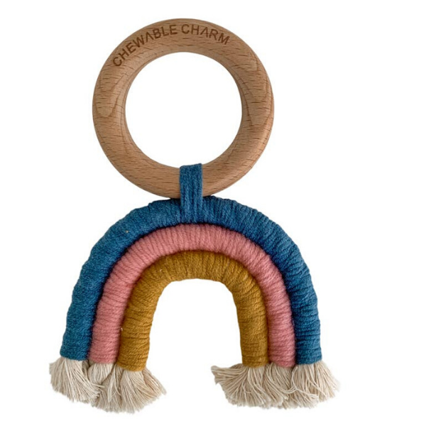 Chewable Charm Macrame Rainbow Teether- Teal + Rose