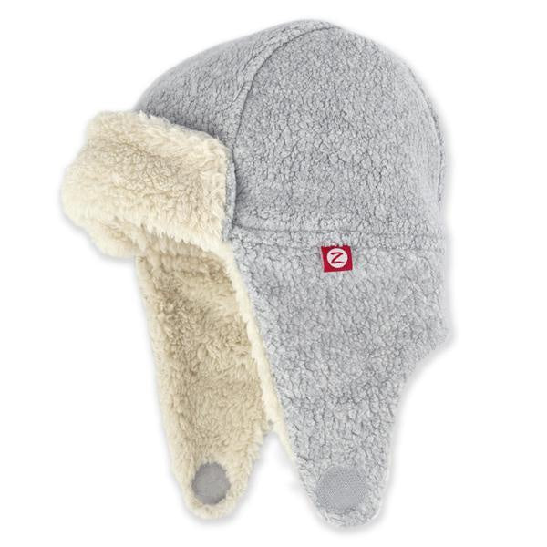 Zutano Cozie Fleece Furry Trapper Hat Heather Grey