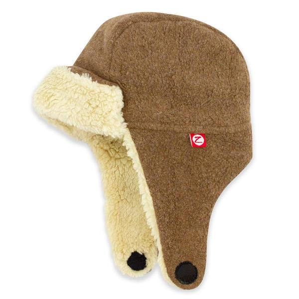 Zutano Cozie Fleece Furry Trapper Hat Mocha Heather