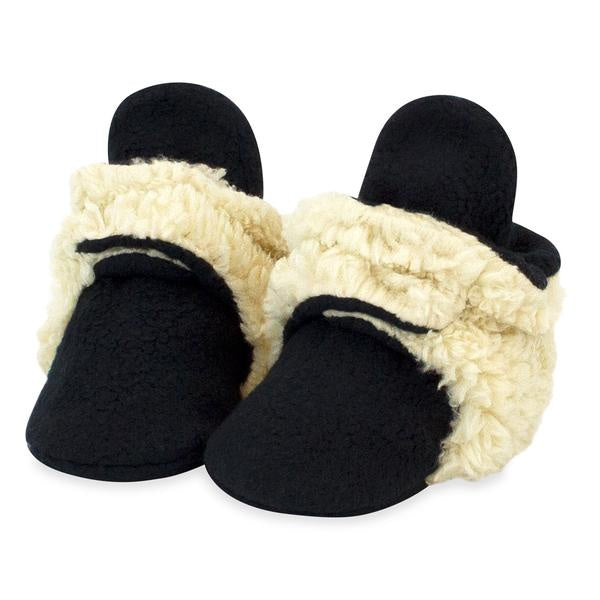 Zutano Cozie Fleece Booties Furry Black