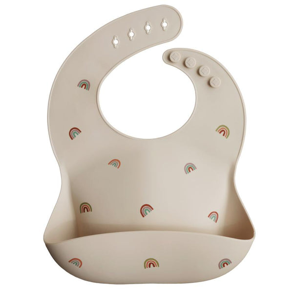 Mushie Silicone Baby Bib - Rainbows