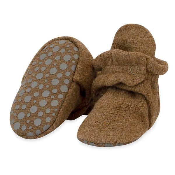 Zutano Cozie Fleece Gripper Booties Mocha Heather